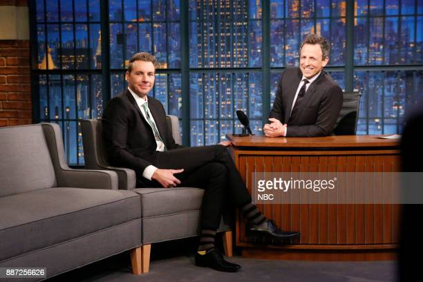 Actor Dax Shepherd talks with host Seth Meyers during an inteview on December 6 2017