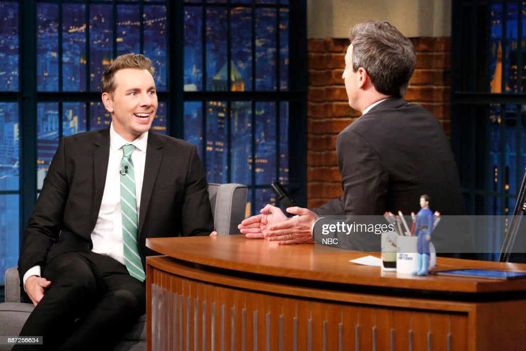 Actor Dax Shepherd talks with host Seth Meyers during an inteview on December 6, 2017 --