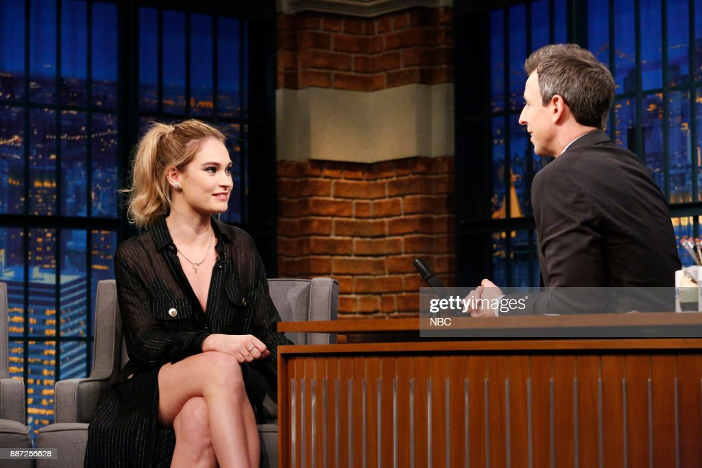 Actress Lily James talks with host Seth Meyers during an interview on December 6, 2017 --