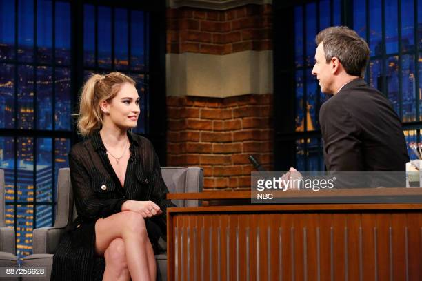 Actress Lily James talks with host Seth Meyers during an interview on December 6 2017
