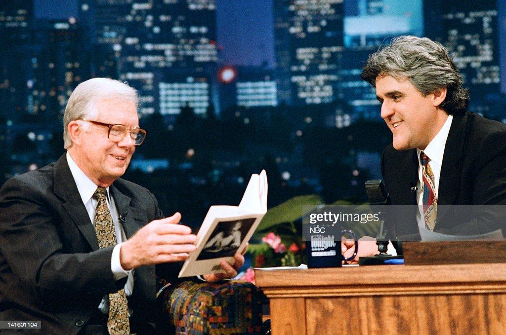 Former U.S. President Jimmy Carter, host Jay Leno on February 8, 1995 --
