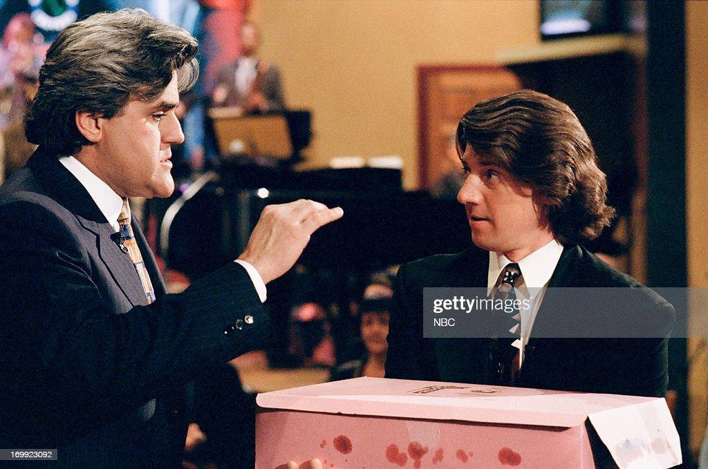 Host Jay Leno and announcer Edd Hall on February 15, 1995 --