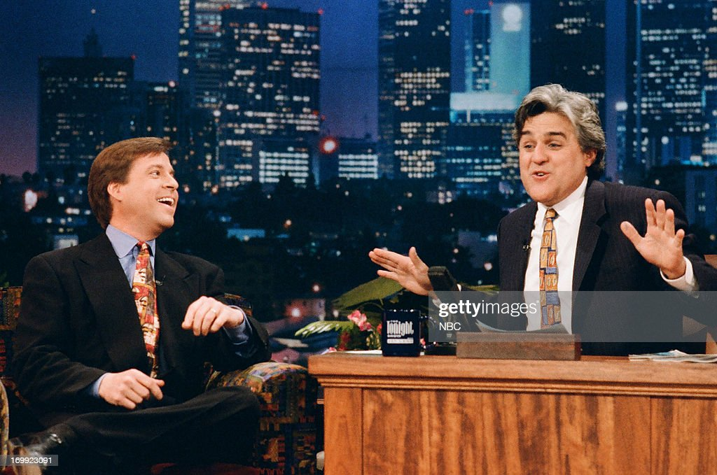 Sports analyst Bob Costas during an interview with host Jay Leno on February 15, 1995 --