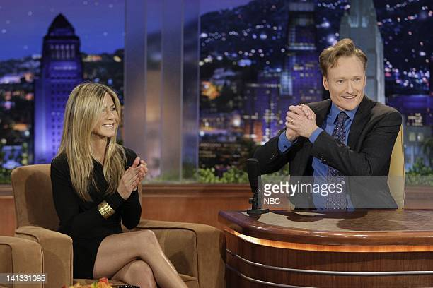 BRIEN Episode 66 Air Date Pictured Actress Jennifer Aniston during an interview with host Conan O'Brien on September 15 2009 Photo by Paul...