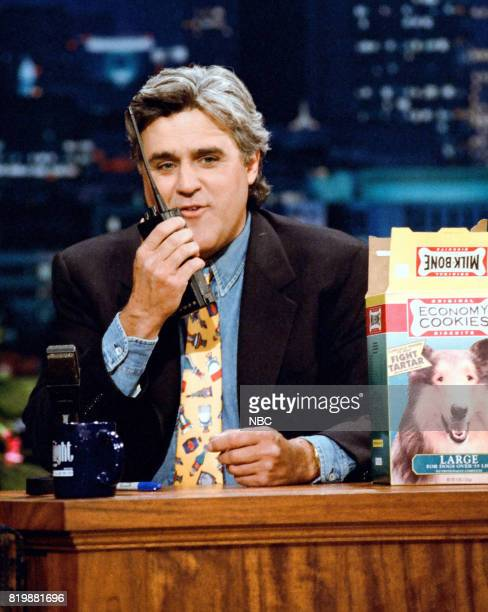 Host Jay Leno during 'Truth in Labeling' segment on April 28 1995