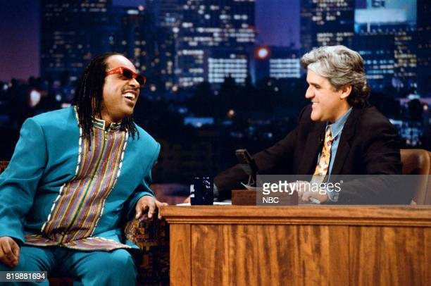 Musician Stevie Wonder during an interview with host Jay Leno on April 28 1995