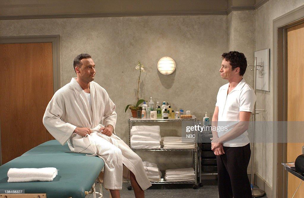 LIVE -- Episode 7 -- Air Date -- Pictured: (l-r) Derek Jeter, Chris Kattan as Gary the Masseur during the 'Musical Masseur' skit on December 1, 2001