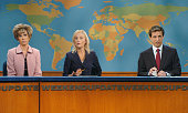 LIVE Episode 7 Aired 12/2/2006 Pictured Kristen Wiig as Aunt Linda Amy Poehler Seth Meyers during 'Weekend Update' on December 2 2006