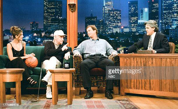 Actor Jack Lemmon Actress Jennifer Aniston Professional Golfer Peter Jacobsen during an interview with host Jay Leno on June 7 1995