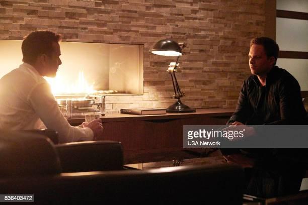 SUITS '100' Episode 708 Pictured Gabriel Macht as Harvey Specter Patrick J Adams as Michael Ross