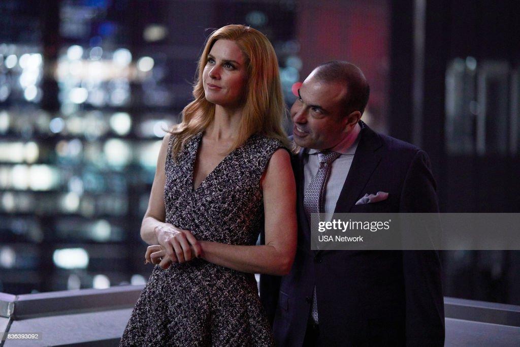 SUITS -- '100' Episode 708 -- Pictured: (l-r) Sarah Rafferty as Donna Paulsen, Rick Hoffman as Louis Litt --