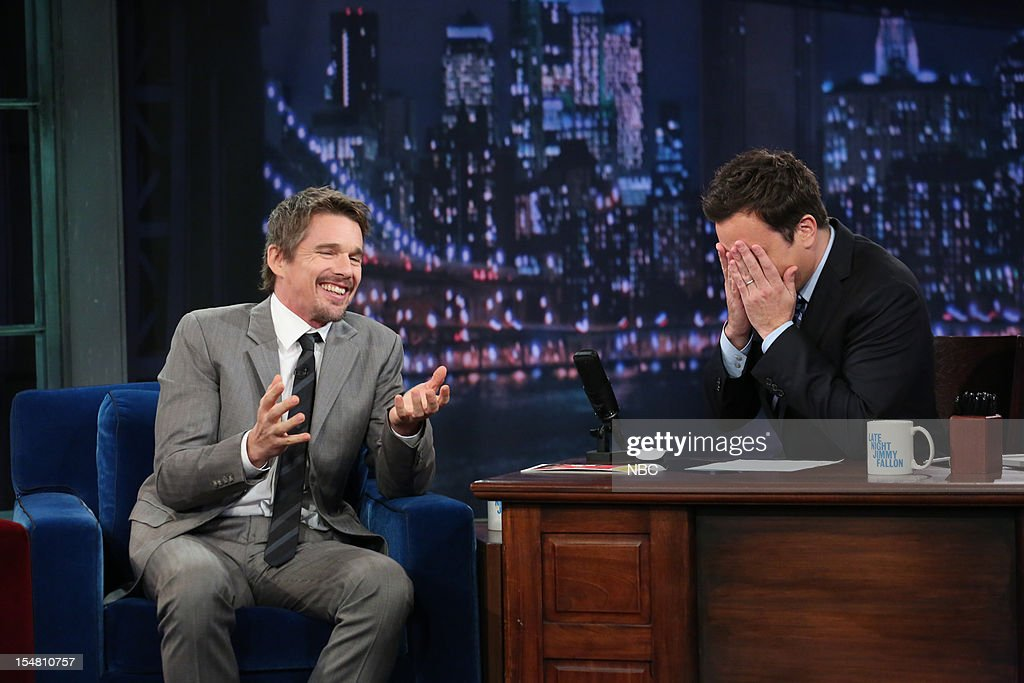 <a gi-track='captionPersonalityLinkClicked' href=/galleries/search?phrase=Ethan+Hawke&family=editorial&specificpeople=178274 ng-click='$event.stopPropagation()'>Ethan Hawke</a> during an interview with host <a gi-track='captionPersonalityLinkClicked' href=/galleries/search?phrase=Jimmy+Fallon&family=editorial&specificpeople=171520 ng-click='$event.stopPropagation()'>Jimmy Fallon</a> on October 26, 2012 --