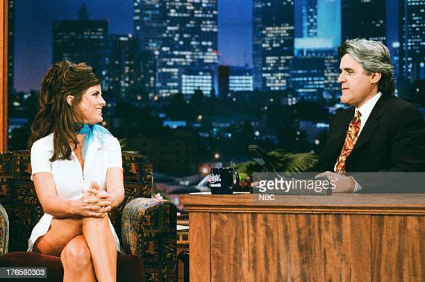 Actress Yasmine Bleeth during an interview with host Jay Leno on July 18 1995