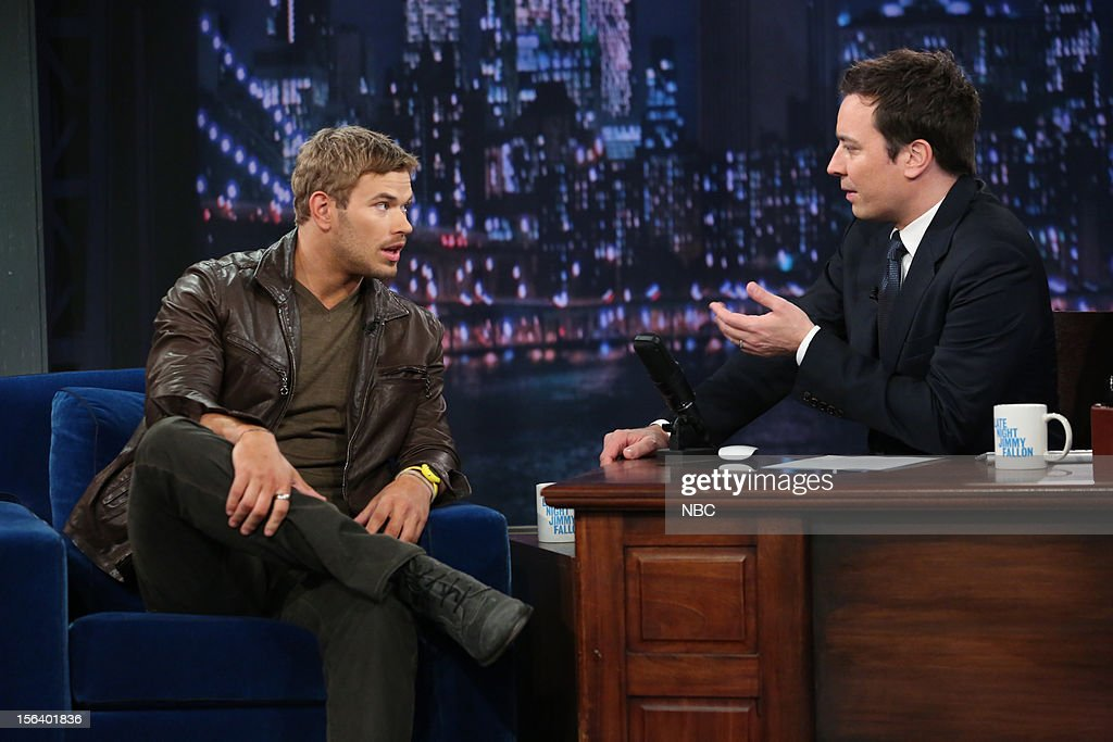 <a gi-track='captionPersonalityLinkClicked' href=/galleries/search?phrase=Kellan+Lutz&family=editorial&specificpeople=683287 ng-click='$event.stopPropagation()'>Kellan Lutz</a> during an interview with host <a gi-track='captionPersonalityLinkClicked' href=/galleries/search?phrase=Jimmy+Fallon&family=editorial&specificpeople=171520 ng-click='$event.stopPropagation()'>Jimmy Fallon</a> on November 14, 2012 --