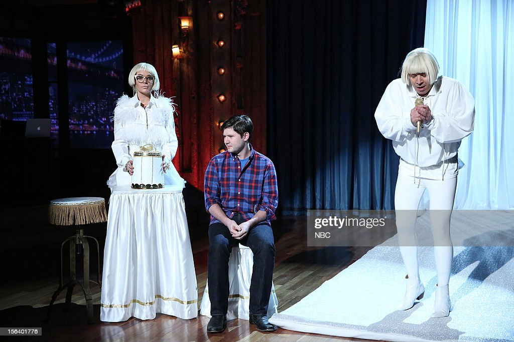 Lindsay Lohan and host Jimmy Fallon during a skit on November 14, 2012 --