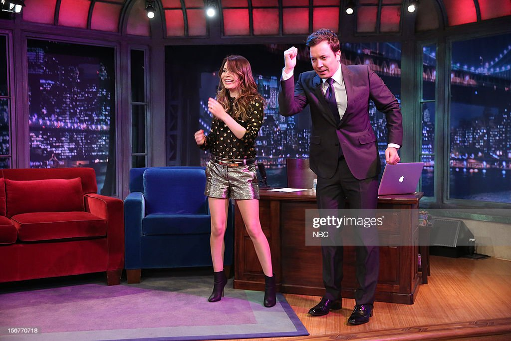 Miranda Cosgrove during a skit with host Jimmy Fallon on November 20, 2012 --