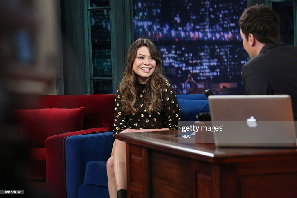 <a gi-track='captionPersonalityLinkClicked' href=/galleries/search?phrase=Miranda+Cosgrove&family=editorial&specificpeople=709215 ng-click='$event.stopPropagation()'>Miranda Cosgrove</a> during an interview with host <a gi-track='captionPersonalityLinkClicked' href=/galleries/search?phrase=Jimmy+Fallon&family=editorial&specificpeople=171520 ng-click='$event.stopPropagation()'>Jimmy Fallon</a> on November 20, 2012 --