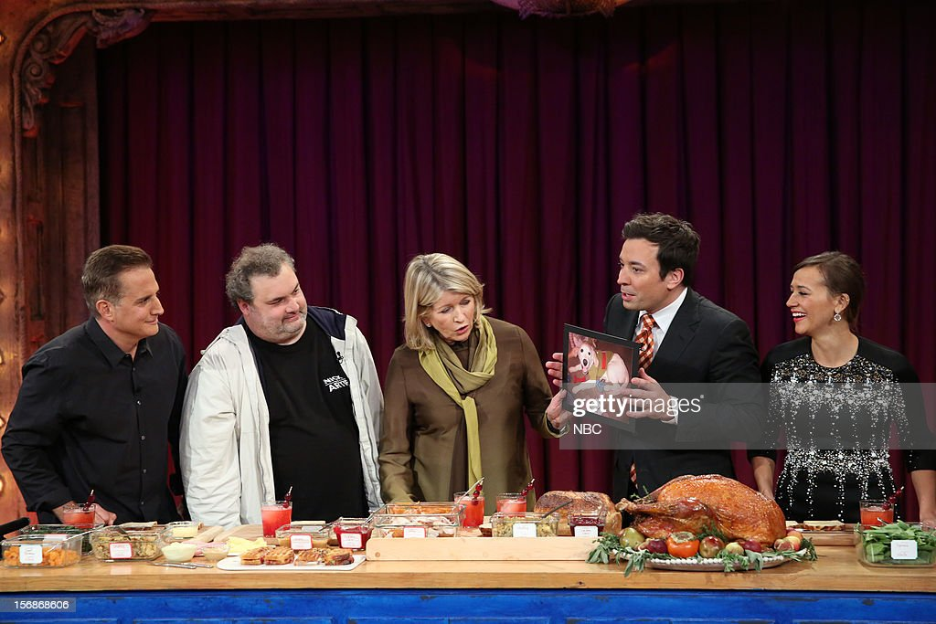 Nick Dipaolo, Artie Lange, Martha Stewart, host Jimmy Fallon, and Rashida Jones during a skit on November 22, 2012 --