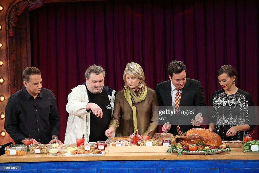 Nick Dipaolo, Artie Lange, Martha Stewart, host Jimmy Fallon, and Rashida Jones during a skit on November 22, 2012 --