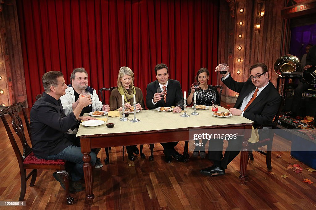 Nick Dipaolo, Artie Lange, Martha Stewart, host Jimmy Fallon, Rashida Jones, and Steve Higgins during a skit on November 22, 2012 --