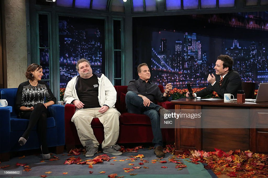 Rashida Jones, Artie Lange, and Nick Dipaolo during an interview with host Jimmy Fallon on November 22, 2012 --