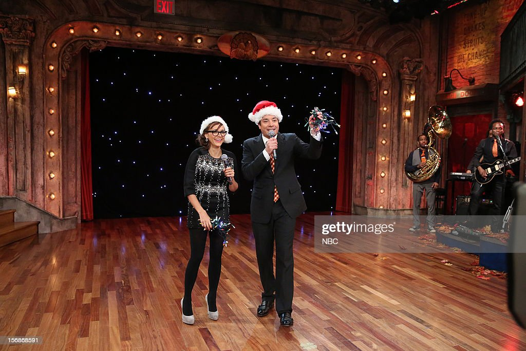Rashida Jones during a skit with host Jimmy Fallon on November 22, 2012 --