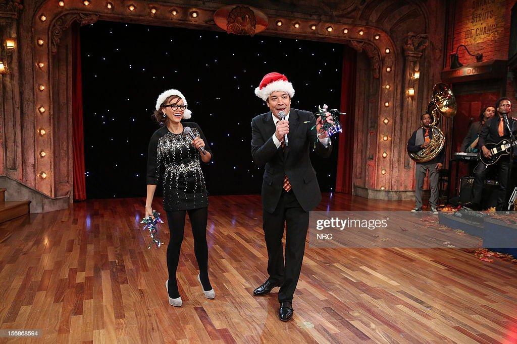 Rashida Jones during a skit with host Jimmy Fallon on November 22, 2012 --