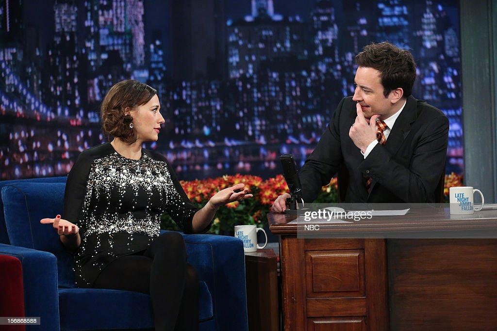 Rashida Jones during an interview with host Jimmy Fallon on November 22, 2012 --