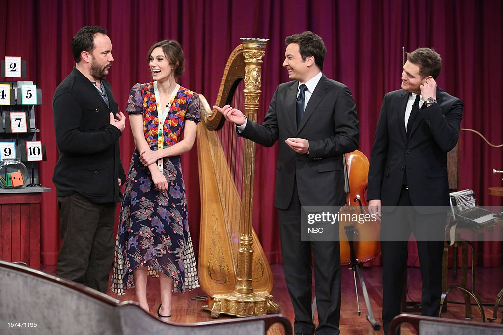 Dave Matthews, Keira Knightley, host Jimmy Fallon, and Michael Buble during a skit on December 3rd, 2012 --