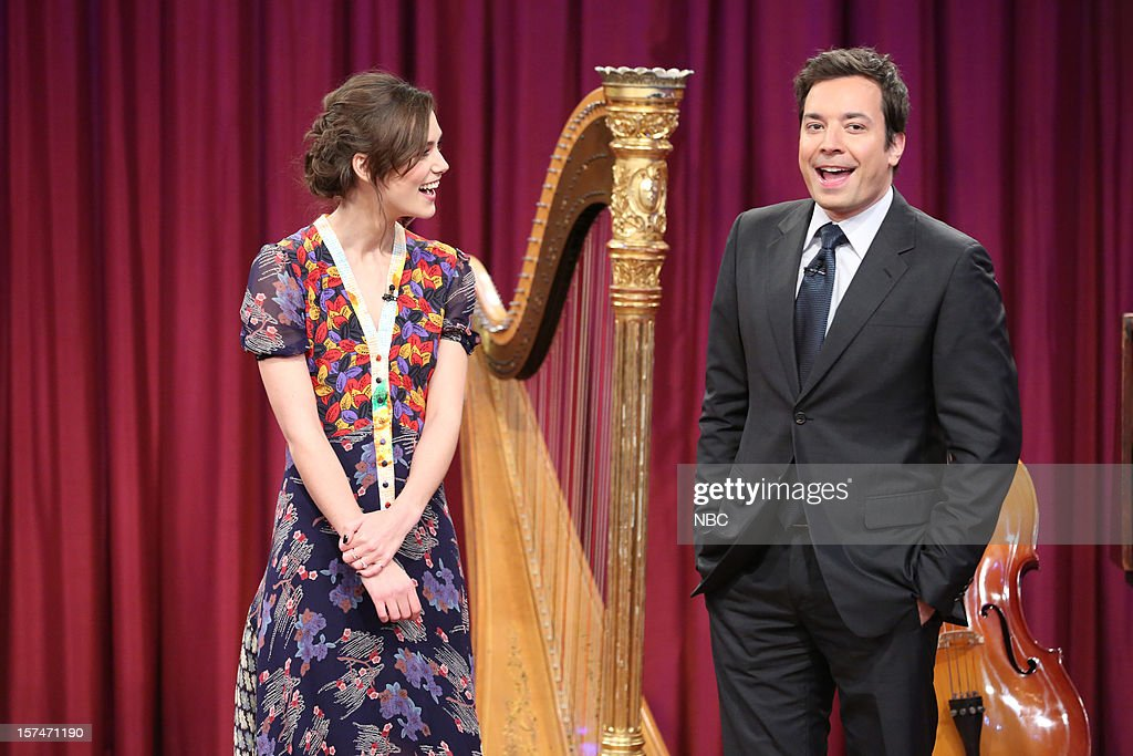 Keira Knightley during a skit with host Jimmy Fallon on December 3rd, 2012 --