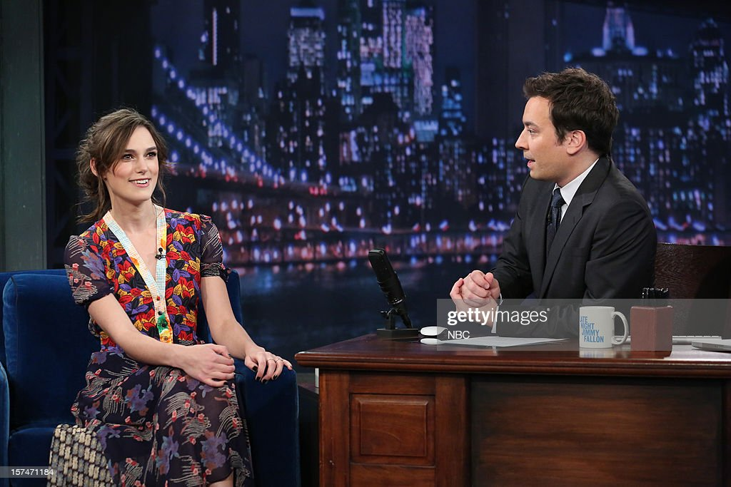 <a gi-track='captionPersonalityLinkClicked' href=/galleries/search?phrase=Keira+Knightley&family=editorial&specificpeople=202053 ng-click='$event.stopPropagation()'>Keira Knightley</a> during an interview with host <a gi-track='captionPersonalityLinkClicked' href=/galleries/search?phrase=Jimmy+Fallon&family=editorial&specificpeople=171520 ng-click='$event.stopPropagation()'>Jimmy Fallon</a> on December 3rd, 2012 --