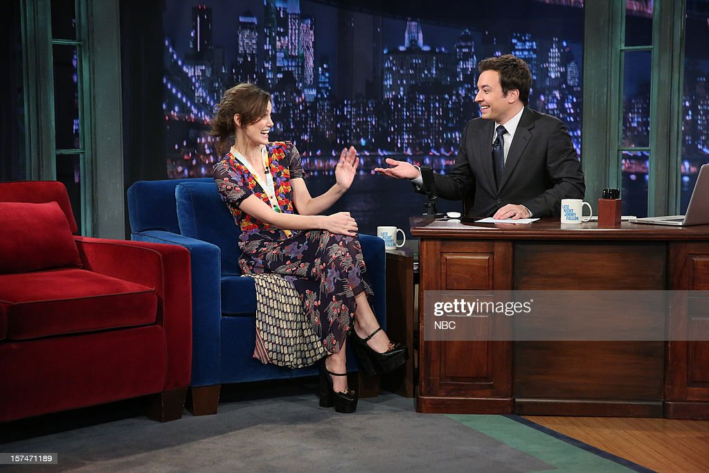Keira Knightley during an interview with host Jimmy Fallon on December 3rd, 2012 --