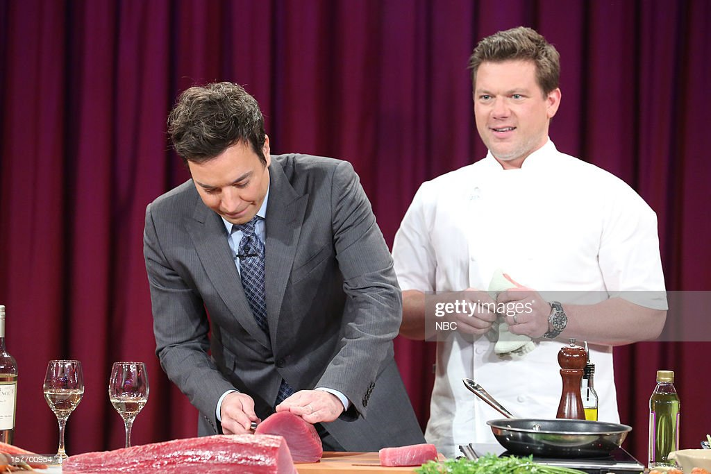 Host <a gi-track='captionPersonalityLinkClicked' href=/galleries/search?phrase=Jimmy+Fallon&family=editorial&specificpeople=171520 ng-click='$event.stopPropagation()'>Jimmy Fallon</a> during a cooking segment with Tyler Florence on December 5, 2012 --