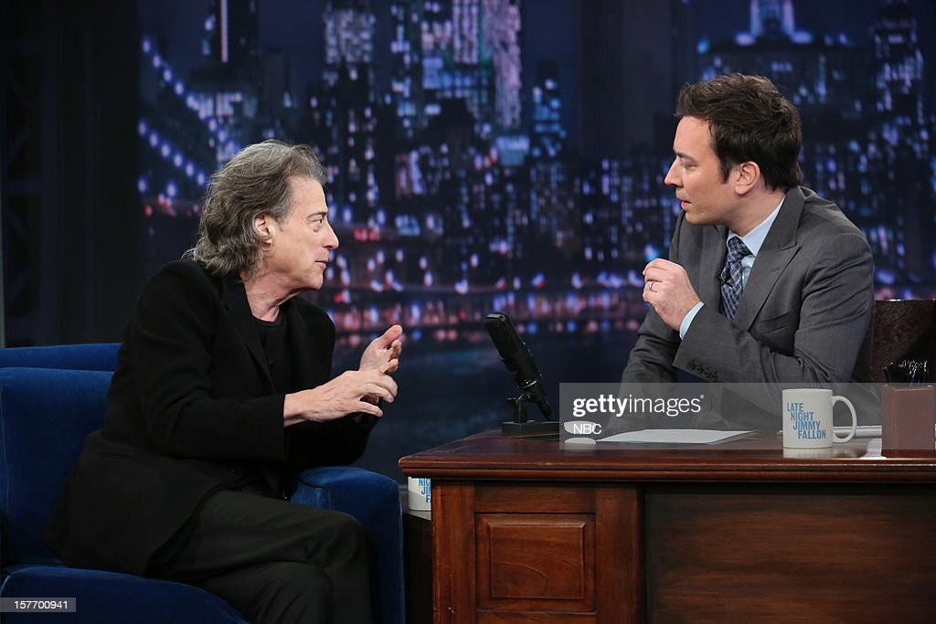 <a gi-track='captionPersonalityLinkClicked' href=/galleries/search?phrase=Richard+Lewis&family=editorial&specificpeople=213264 ng-click='$event.stopPropagation()'>Richard Lewis</a> during an interview with host <a gi-track='captionPersonalityLinkClicked' href=/galleries/search?phrase=Jimmy+Fallon&family=editorial&specificpeople=171520 ng-click='$event.stopPropagation()'>Jimmy Fallon</a> on December 5, 2012 --