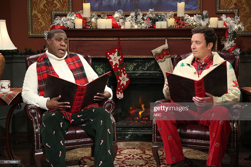 <a gi-track='captionPersonalityLinkClicked' href=/galleries/search?phrase=Tracy+Morgan&family=editorial&specificpeople=182428 ng-click='$event.stopPropagation()'>Tracy Morgan</a> during a skit with host <a gi-track='captionPersonalityLinkClicked' href=/galleries/search?phrase=Jimmy+Fallon&family=editorial&specificpeople=171520 ng-click='$event.stopPropagation()'>Jimmy Fallon</a> on December 5, 2012 --