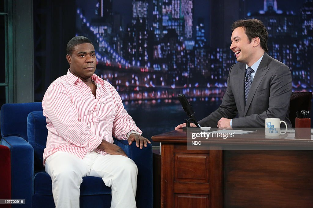 <a gi-track='captionPersonalityLinkClicked' href=/galleries/search?phrase=Tracy+Morgan&family=editorial&specificpeople=182428 ng-click='$event.stopPropagation()'>Tracy Morgan</a> during an interview with host <a gi-track='captionPersonalityLinkClicked' href=/galleries/search?phrase=Jimmy+Fallon&family=editorial&specificpeople=171520 ng-click='$event.stopPropagation()'>Jimmy Fallon</a> on December 5, 2012 --