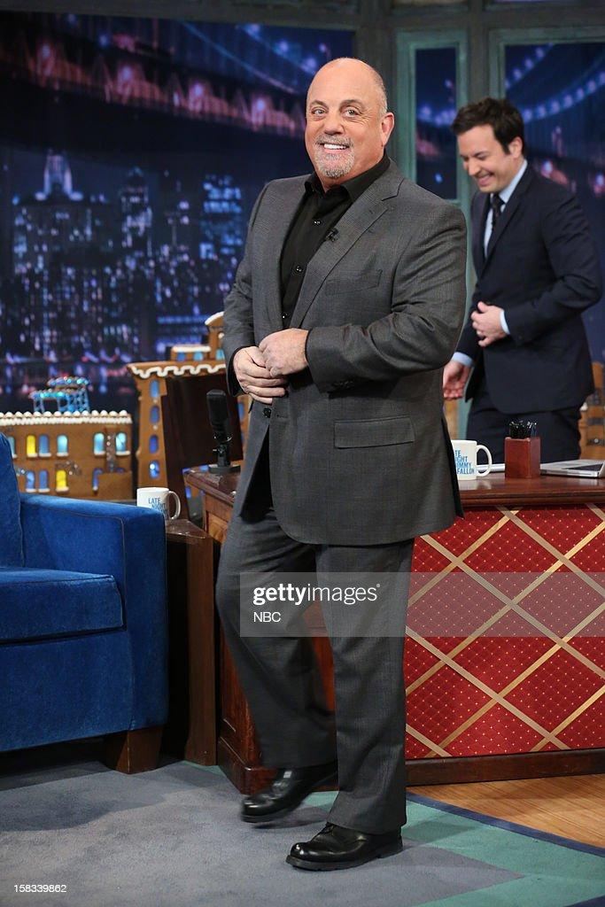 Billy Joel arrives with host Jimmy Fallon on December 13, 2012 --