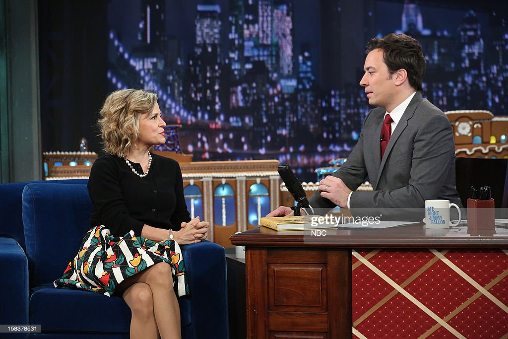 <a gi-track='captionPersonalityLinkClicked' href=/galleries/search?phrase=Amy+Sedaris&family=editorial&specificpeople=209343 ng-click='$event.stopPropagation()'>Amy Sedaris</a> during an interview with host <a gi-track='captionPersonalityLinkClicked' href=/galleries/search?phrase=Jimmy+Fallon&family=editorial&specificpeople=171520 ng-click='$event.stopPropagation()'>Jimmy Fallon</a> on December 14, 2012 --