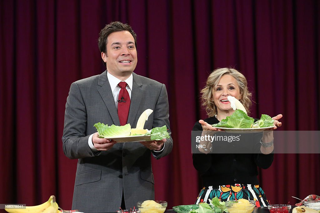 Host <a gi-track='captionPersonalityLinkClicked' href=/galleries/search?phrase=Jimmy+Fallon&family=editorial&specificpeople=171520 ng-click='$event.stopPropagation()'>Jimmy Fallon</a> during a skit with <a gi-track='captionPersonalityLinkClicked' href=/galleries/search?phrase=Amy+Sedaris&family=editorial&specificpeople=209343 ng-click='$event.stopPropagation()'>Amy Sedaris</a> on December 14, 2012 --