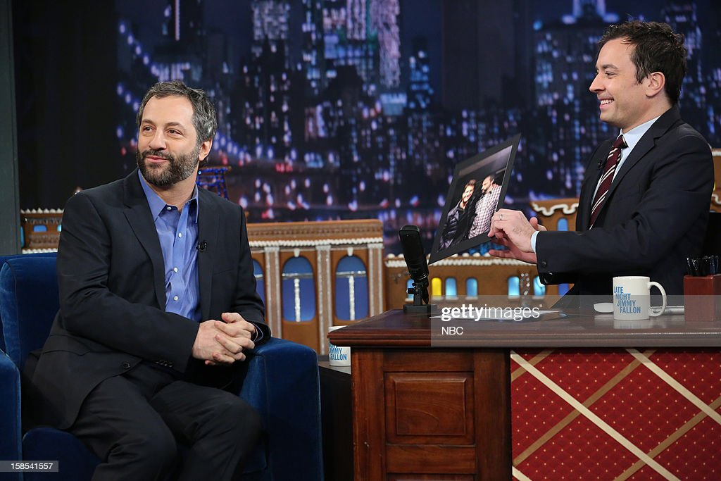 <a gi-track='captionPersonalityLinkClicked' href=/galleries/search?phrase=Judd+Apatow&family=editorial&specificpeople=854225 ng-click='$event.stopPropagation()'>Judd Apatow</a> during an interview with host <a gi-track='captionPersonalityLinkClicked' href=/galleries/search?phrase=Jimmy+Fallon&family=editorial&specificpeople=171520 ng-click='$event.stopPropagation()'>Jimmy Fallon</a> on December 18, 2012 --