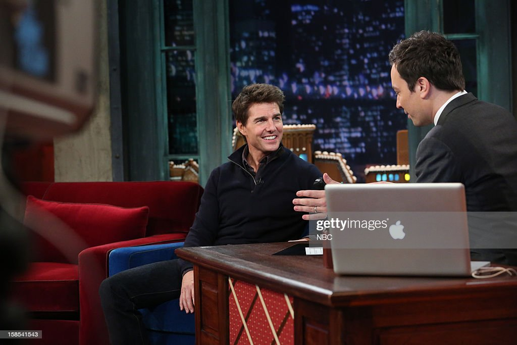 <a gi-track='captionPersonalityLinkClicked' href=/galleries/search?phrase=Tom+Cruise&family=editorial&specificpeople=156405 ng-click='$event.stopPropagation()'>Tom Cruise</a> during an interview with host <a gi-track='captionPersonalityLinkClicked' href=/galleries/search?phrase=Jimmy+Fallon&family=editorial&specificpeople=171520 ng-click='$event.stopPropagation()'>Jimmy Fallon</a> on December 18, 2012 --