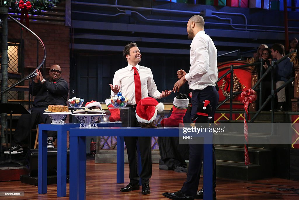 Cee Lo Green during a skit with host <a gi-track='captionPersonalityLinkClicked' href=/galleries/search?phrase=Jimmy+Fallon&family=editorial&specificpeople=171520 ng-click='$event.stopPropagation()'>Jimmy Fallon</a> and <a gi-track='captionPersonalityLinkClicked' href=/galleries/search?phrase=Tyson+Chandler&family=editorial&specificpeople=202061 ng-click='$event.stopPropagation()'>Tyson Chandler</a> on December 20, 2012 --
