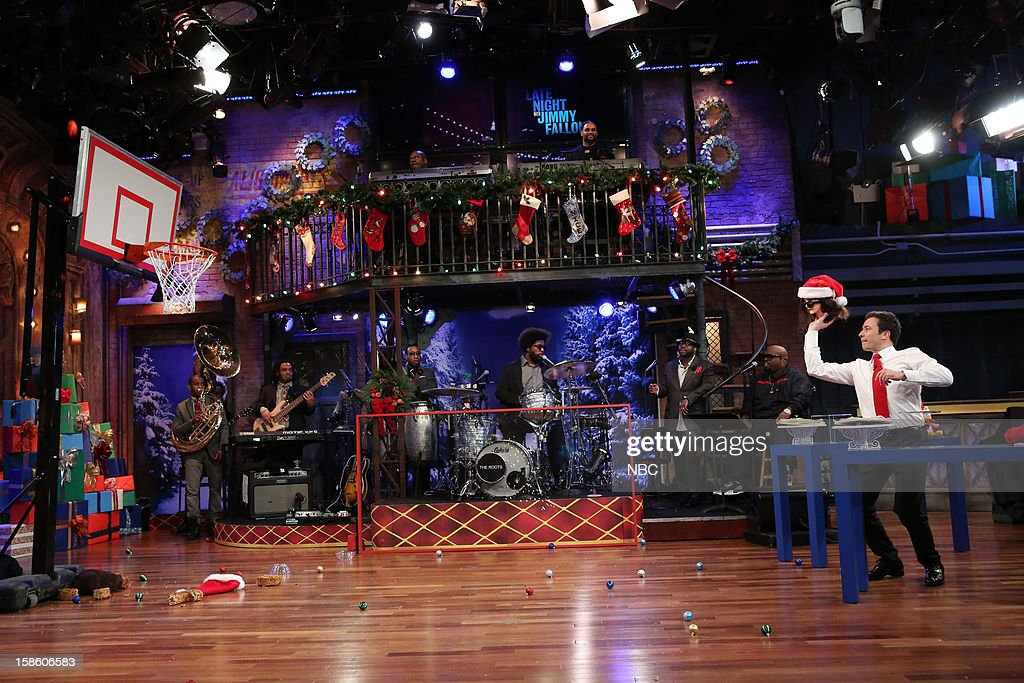The Roots during a skit with Cee Lo Green and host <a gi-track='captionPersonalityLinkClicked' href=/galleries/search?phrase=Jimmy+Fallon&family=editorial&specificpeople=171520 ng-click='$event.stopPropagation()'>Jimmy Fallon</a> on December 20, 2012 --