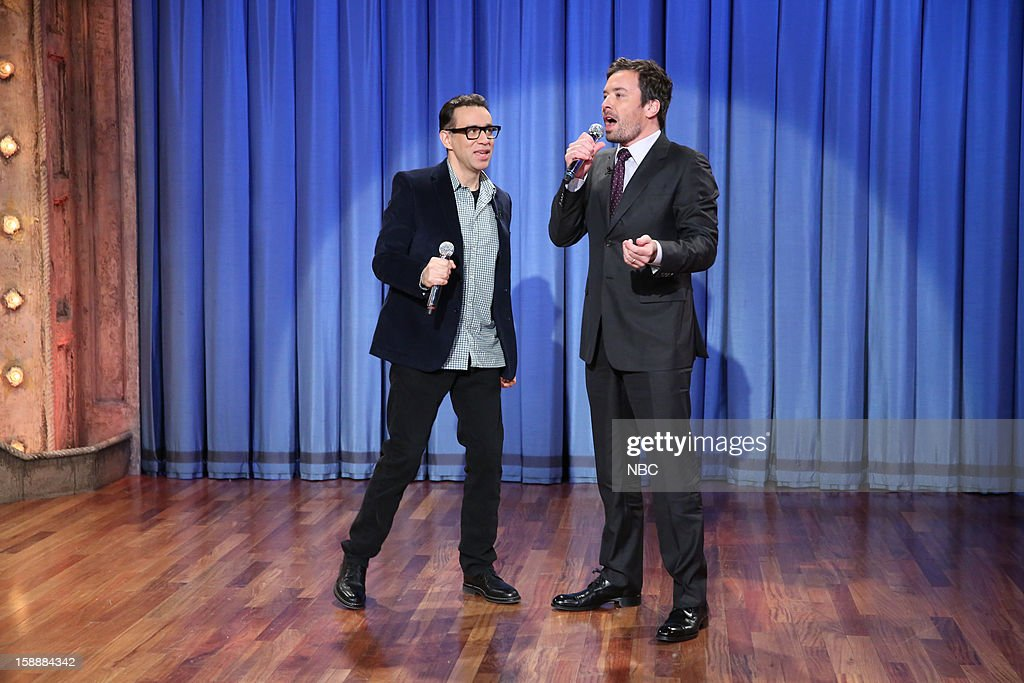 <a gi-track='captionPersonalityLinkClicked' href=/galleries/search?phrase=Fred+Armisen&family=editorial&specificpeople=221426 ng-click='$event.stopPropagation()'>Fred Armisen</a> during a skit with host <a gi-track='captionPersonalityLinkClicked' href=/galleries/search?phrase=Jimmy+Fallon&family=editorial&specificpeople=171520 ng-click='$event.stopPropagation()'>Jimmy Fallon</a> on January 2, 2013 --