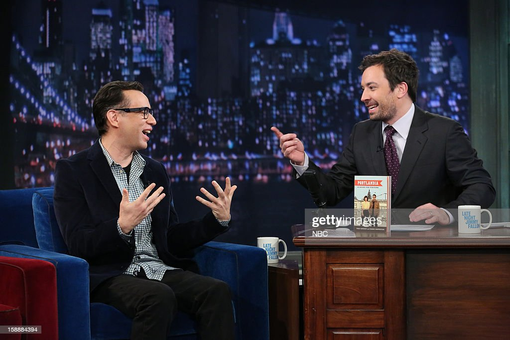 <a gi-track='captionPersonalityLinkClicked' href=/galleries/search?phrase=Fred+Armisen&family=editorial&specificpeople=221426 ng-click='$event.stopPropagation()'>Fred Armisen</a> during an interview with host <a gi-track='captionPersonalityLinkClicked' href=/galleries/search?phrase=Jimmy+Fallon&family=editorial&specificpeople=171520 ng-click='$event.stopPropagation()'>Jimmy Fallon</a> on January 2, 2013 --