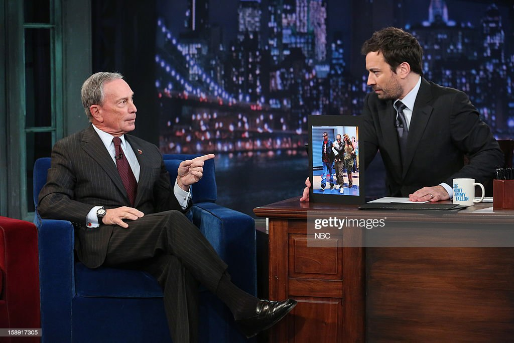 Mayor <a gi-track='captionPersonalityLinkClicked' href=/galleries/search?phrase=Michael+Bloomberg&family=editorial&specificpeople=171685 ng-click='$event.stopPropagation()'>Michael Bloomberg</a> during an interview with host <a gi-track='captionPersonalityLinkClicked' href=/galleries/search?phrase=Jimmy+Fallon&family=editorial&specificpeople=171520 ng-click='$event.stopPropagation()'>Jimmy Fallon</a> on January 3, 2013 --