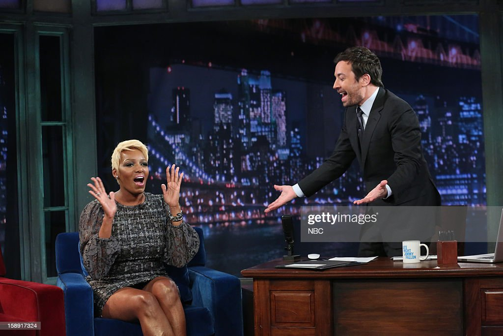 <a gi-track='captionPersonalityLinkClicked' href=/galleries/search?phrase=NeNe+Leakes&family=editorial&specificpeople=5446374 ng-click='$event.stopPropagation()'>NeNe Leakes</a> during an interview with host <a gi-track='captionPersonalityLinkClicked' href=/galleries/search?phrase=Jimmy+Fallon&family=editorial&specificpeople=171520 ng-click='$event.stopPropagation()'>Jimmy Fallon</a> on January 3, 2013 --