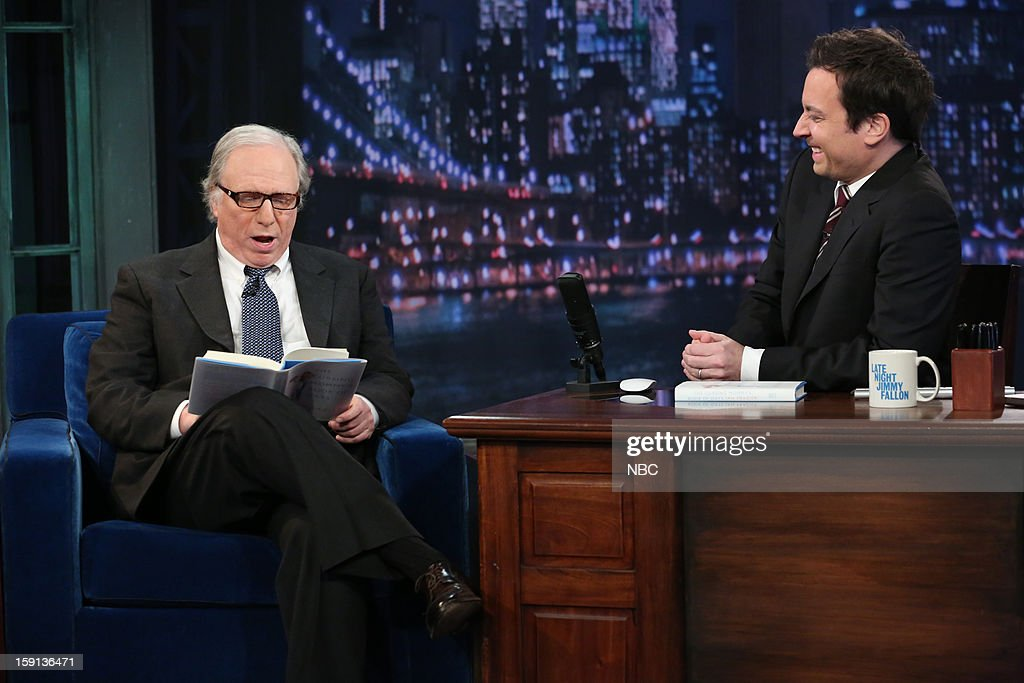Ian Frazier during an interview with host <a gi-track='captionPersonalityLinkClicked' href=/galleries/search?phrase=Jimmy+Fallon&family=editorial&specificpeople=171520 ng-click='$event.stopPropagation()'>Jimmy Fallon</a> on January 8, 2013 --