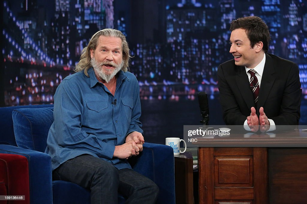 <a gi-track='captionPersonalityLinkClicked' href=/galleries/search?phrase=Jeff+Bridges&family=editorial&specificpeople=201735 ng-click='$event.stopPropagation()'>Jeff Bridges</a> during an interview with host <a gi-track='captionPersonalityLinkClicked' href=/galleries/search?phrase=Jimmy+Fallon&family=editorial&specificpeople=171520 ng-click='$event.stopPropagation()'>Jimmy Fallon</a> on January 8, 2013 --