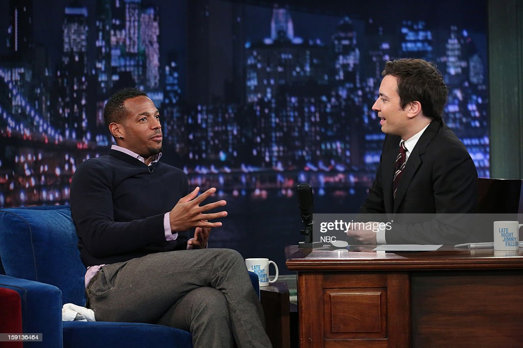 <a gi-track='captionPersonalityLinkClicked' href=/galleries/search?phrase=Marlon+Wayans&family=editorial&specificpeople=203226 ng-click='$event.stopPropagation()'>Marlon Wayans</a> during an interview with host <a gi-track='captionPersonalityLinkClicked' href=/galleries/search?phrase=Jimmy+Fallon&family=editorial&specificpeople=171520 ng-click='$event.stopPropagation()'>Jimmy Fallon</a> on January 8, 2013 --